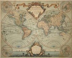 A CHANGING WORLD: The great French cartographer Guillaume de L'Isle made the first version of this map in 1700. This 1745 version by Amsterdam map publisher Covens & Mortier adds a seascape at the bottom, combining realistic clipper ships on the horizon with a fanciful mermaid and a merman accompanied by sea monsters. It also includes geography that had been discovered in the interim, such as the fact that Japan was an island and not attached to the mainland of Asia.