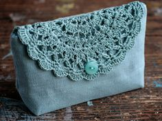 Linen clutch pouch purse makeup bag crocheted detail от namolio - Another! Bag Crochet, Crochet Clutch, Crochet Purses, Crochet Motif, Crochet Patterns, Fabric Wallet, Fabric Bags, Bag Patterns To Sew, Steam Punk