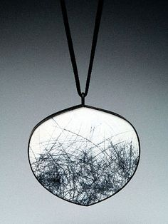 Julia V. Turner - Black Grass Pendant - Steel (painted, scraped, oxidized), silk, 18k