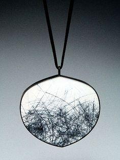 Julia V. Turner - Black Grass Pendant - Steel (painted, scraped, oxidized), silk, 18k
