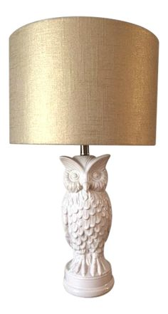 White Ceramic Owl Lamps With Metallic Gold Linen Lampshades - a Pair on Chairish.com