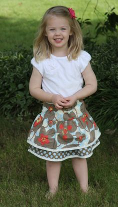 My youngest in an Amy Butler Morning Glory fabric skirt I just made.