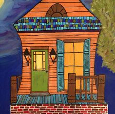 New Orleans art, shotgun house painting by Michelle Nolan, 18x24 on Etsy