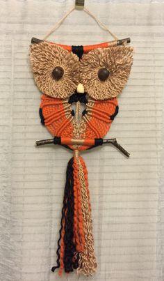 OWL #67 Fall Owl, Macrame Wall Hanging, natural jute, acrylic, acrylic with wool