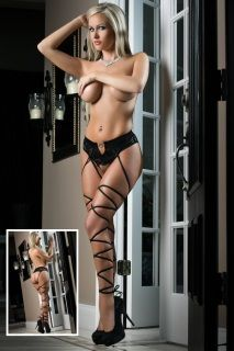 With an open crotch and daring open back this outrageously sexy lace panty is a must have late-night winner. Attached criss cross stockings add to the night's fantasy.