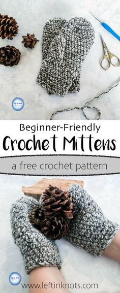 This fast and modern crochet pattern will show you how to crochet Women's Basic Bulky Mittens. This modern, free crochet pattern is beginner friendly, and these mittens make a great project for yourself, gifts or as a charity donation. All you need is some bulky acrylic yarn and a 6.0mm crochet hook!#freecrochetpattern#crochetmittens#crochet