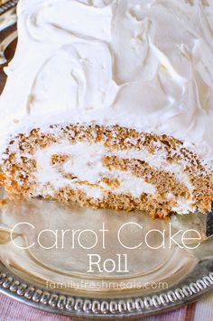 The problem with carrot cake is you can never get the icing and the cake to balance out in every bite. The solution: Easy Carrot Cake Roll! Carrot Cake Roll Recipe, Cake Roll Recipes, Easy Carrot Cake, Carrot Cake Cupcakes, Cupcake Cakes, Cake Mix Jelly Roll Recipe, Dessert Recipes, Carrot Cakes, Baking Recipes