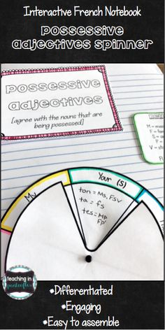 Your students will master French possessive adjectives with this interactive notebook page! It can be used as a simple reference page or study tool.  Best of all, this differentiated spinner is easy to assemble, engaging, and fun! Click through to see more!