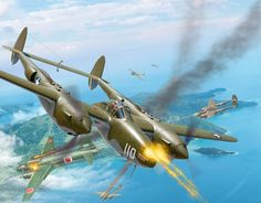 Operation Vengeance, by Valery Petelin (a flight of P-38G Lightnings based on Guadalcanal chase Japanese Admiral Isoroku Yamamoto's Mitsubishi G4M 'Betty' over Bougainville Island, April 18, 1943)