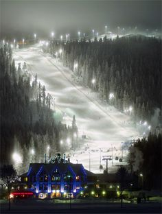 Levi Ski Resort, Finland...watched my HTB skiing down this black slope...amazing place!