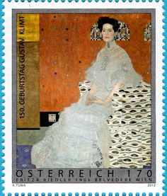 Gustav Klimt - Stamp depicting Portrait of Fritza Riedler, 1906