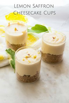 These No-Bake easy-to-make individual Lemon Saffron Cheesecake Cups are filled with refreshing Spring flavors. www.easybabymeals.com