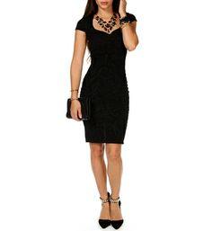 Black Floral Textured Midi Dress