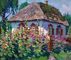 ART~ Roof With A Thatch, Walls Of Blue, A Cosy Little Cottage For Me And You~ Мальвы