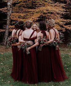 Burgundy color is noble and luxurious, aristocratic and, at the same time, universal. See our wonderful burgundy bridesmaid dresses! Burgundy Bridesmaid Dresses Long, Tulle Bridesmaid Dress, Mismatched Bridesmaid Dresses, Beautiful Bridesmaid Dresses, Bridesmaid Dress Styles, Wedding Dresses For Girls, Wedding Bridesmaids, Annabelle Dress, Wedding Styles