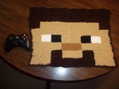 Minecraft Steve Crochet Pixel crochet Rug by harmonden
