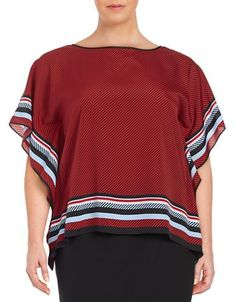 Michael Michael Kors Plus Plus Striped Crepe Caftan Top Women's Red Bl