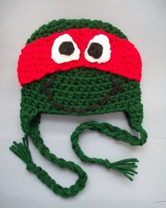 Teenage Mutant Ninja Turtles Earflap Hat, Green Crochet Beanie, SIZE NEWBORN-ADULT. $25.00, via Etsy.