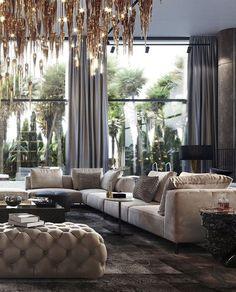 Indian Home Interior Slick modern living room Elegant Living Room, Elegant Home Decor, Luxury Home Decor, Elegant Homes, Luxury Interior Design, Modern Living, Modern Room, Interior Modern, Interior Design Living Room