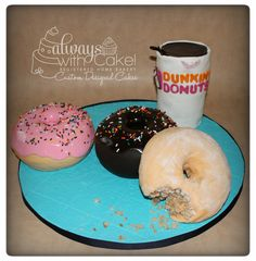 """Coffee & Donuts?  Coffee & Donuts? This was made for a Dunkin Donuts fanatic. Donuts are made out of 6"""" rounds and covered in marshmallow"""