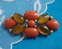Vintage 1940's Monet Jelly Belly Pin, Beautiful Coral & Amber