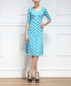 Another great find on #zulily! Turquoise & White Zigzag Button-Up Dress by Reborn Collection #zulilyfinds