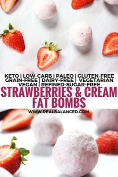 Strawberries & Cream Fat Bombs: keto, low-carb, paleo, gluten-free, grain-free, dairy-free, vegetarian, vegan, and refined-sugar-free! Less than 5g net carbs!