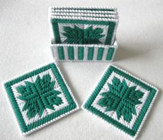 Coasters, Leafs Patchwork Coasters, Plastic Canvas Coasters, Coasters Holder. by litalima67 on Etsy
