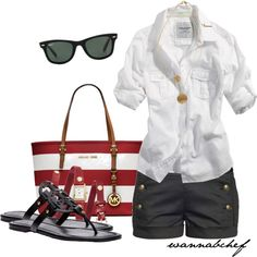 A fashion look from April 2013 featuring Talula shorts, Tory Burch sandals and MICHAEL Michael Kors tote bags. Browse and shop related looks.