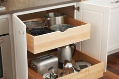"""Base Cabinet with Double Slide-Out Shelves 6 1/2"""" High - Yorktowne Cabinets"""