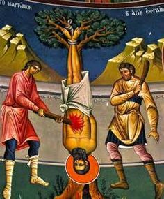 Icon of the martyrdom of Saint Ephraim of Nea Makri by the Turks ☦️ Holy Martyr pray for us ☦️🕯️ Prayer For Family, Jesus Painting, Religious Pictures, Byzantine Icons, Orthodox Christianity, Art Icon, Orthodox Icons, Sacred Art, Faith In God