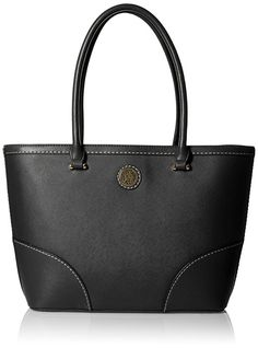 Anne Klein A Stitch In Time Medium Tote Shoulder Handbag | Shoulder Bags----  Colors Available : Black, Bone/Tulip/Cognac,  Cloud/Bone and  Midnight/Cognac-- Polyvinyl Chloride-- Iconic logo detail Center zipper compartment Beautiful,Elegant,Simple and Cute Shoulder Handbags suitable for wedding,casual and party for Summer/Spring of 2016--- Suitable for Travel or Casual Wear---  Essentials---