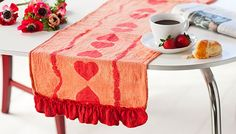 DIY Heart Table Runner (Made from a towel)