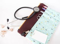 Stethoscope Pouch.Teal & Plum Bag.Nurse Gift.Medical
