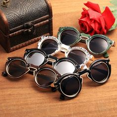Retro Women Classic Punk Style Sun Glasses Round Metal Frame Sunglasses 0bafd557143