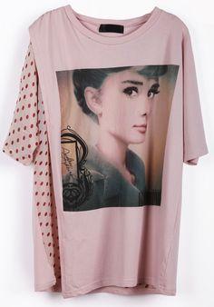 Pink Short Sleeve Polka Dot Audrey Hepburn Print T-Shirt