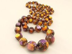 Antique Art Deco Venetian Foil Foiled Purple Golden Glass Bead Necklace