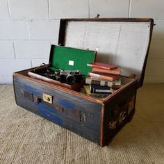 """A superb rare Edwardian """"Army & Navy Co-Operative Society"""" leather-bound steamer travel trunk chest in the Other Antiques & Collectables category was listed for on 13 Feb at by Lifespace Homeware in Gauteng Navy Co, Army & Navy, Steamer, Trunks, Antiques, Leather, Travel, Decor, Drift Wood"""