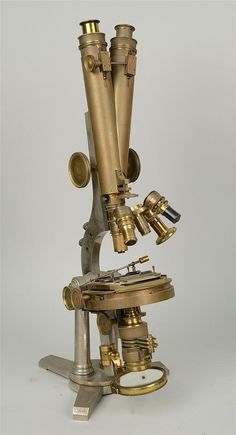 DOUBLE PILLAR BINOCULAR MICROSCOPE; made by R. & J. Beck, London; model no: 5848; height: 22""
