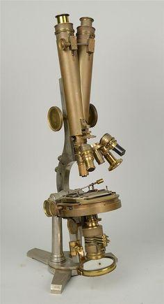 "DOUBLE PILLAR BINOCULAR MICROSCOPE; made by R. & J. Beck, London; model no: 5848; height: 22"""