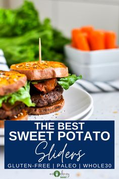 Paleo Sweet Potato Burger Sliders perfectly seasoned and baked to perfection.  A juicy burger with crispy bacon that's an easy and mouthwatering way to enjoy a summer gathering that's also Paleo and Whole30-friendly. Ana Ankeny - Healthy Recipes Best Gluten Free Recipes, Whole 30 Recipes, Paleo Recipes, Whole Food Recipes, Sweet Potato Burgers, Paleo Sweet Potato, Healthy Snacks To Make, Healthy Food, Appetizer Recipes