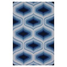 Featuring an ombre blue trellis motif, this hand-hooked wool rug adds a splash of color to your living room or master suite.   Prod...