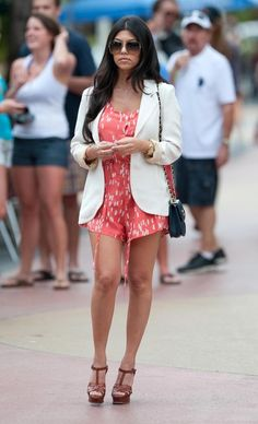 Kourtney Kardashian Romper @Lacia Scarpino you can wear a romper like this with a jacket. its a good look