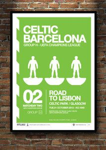 CELTIC. FC BARCELONA. This A2 print marks the occasion when these 2 great clubs me in the Champions League. Designed by Social Recluse and inspired by football.. Subbuteo and Helvetica. A2 / A3 prints available at www.thetenten.co.uk