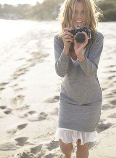 Sweater dress over slip!!!