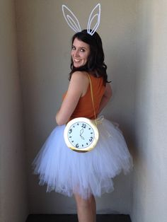 DIY Alice in Wonderland Rabbit costume by Bunny Baubles Blog Instructions to make bunny ears, clock, and tutu!
