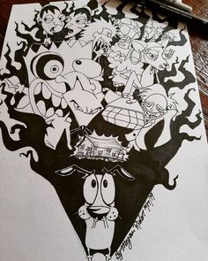 Courage the cowardly dog by suicidal-x-killer on DeviantArt Pen Art, Marker Art, Cartoon Styles, Cartoon Art, Old Cartoon Network Shows, Dog Canvas Painting, Graffiti Wildstyle, Graffiti Lettering Fonts, Tattoo Graphic