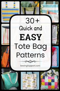 Easy (and Free) Tote Bag patterns, tutorials, and diy sewing projects. Designs simple and easy enough for a beginner to sew. sew einfach clothes crafts for beginners ideas projects room Diy Sewing Projects, Sewing Projects For Beginners, Sewing Hacks, Sewing Tutorials, Sewing Tips, Easy Sewing Patterns, Bag Patterns To Sew, Sewing Machine Tension, Bag Pattern Free