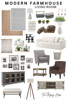 Everything you need for a modern farmhouse living room even Joanna Gaines would love! #DiyCraftsForRoomDecor Modern Farmhouse Living Room Decor, Glam Living Room, Modern Farmhouse Interiors, Living Room Modern, Living Room Designs, Modern Decor, Modern Farmhouse Gallery Wall, Farmhouse Contemporary, Bedroom Modern