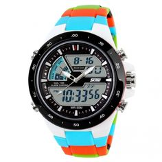 New Young Men Sports Military Watch Fashion Casual Dress Wristwatches 2 Time Zone Digital Quartz LED Watches | cndirect.com
